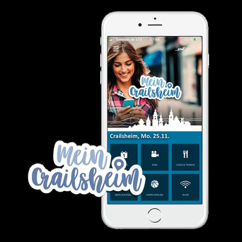 Die MeinCrailsheim App in Smartphone Ansicht