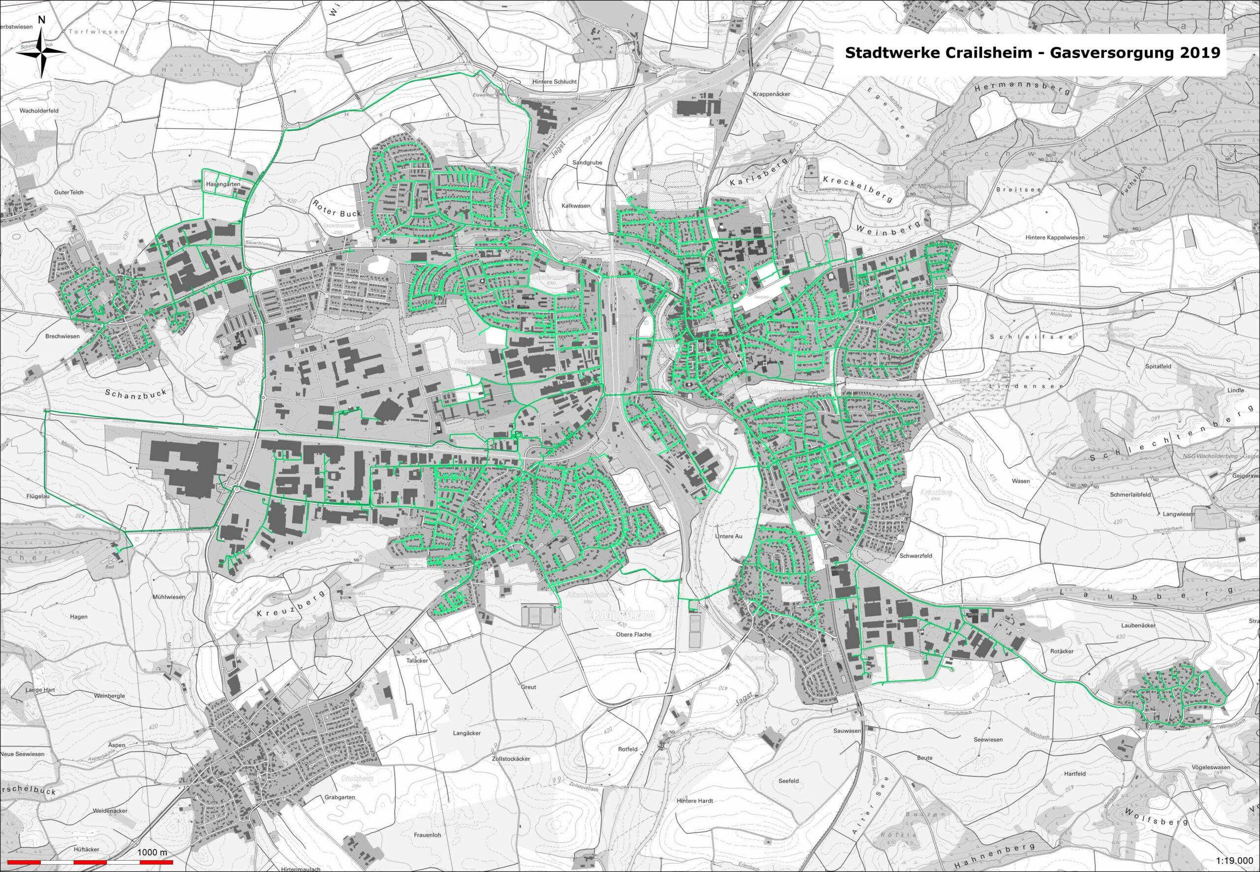 Karte Gasversorgung in Crailsheim