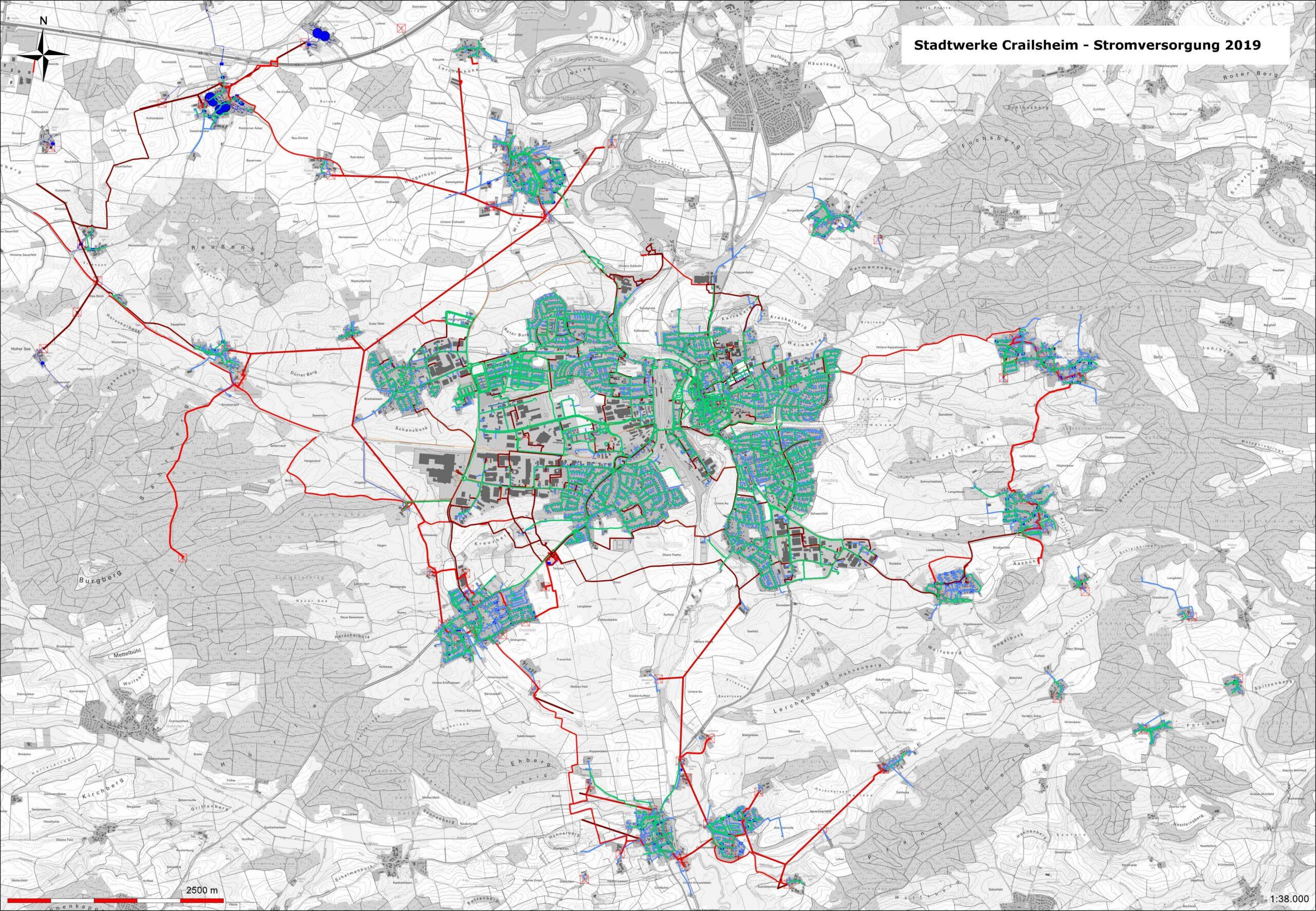Karte Stromversorgung in Crailsheim