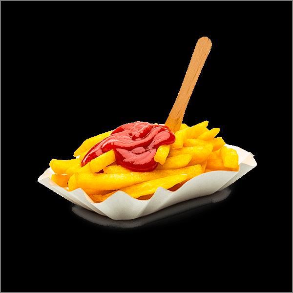 Eine Portion Pommes mit Ketchup
